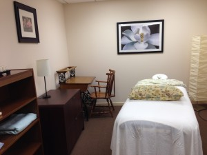 Acupuncture and body work treatment room